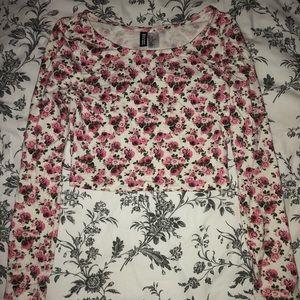 H&M Floral Long Sleeve Crop Top